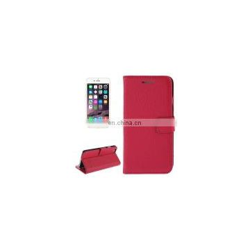 Litchi Texture Magnetic Genuine Leather Case with Holder & Card Slots & Wallet for iPhone 6 Plus