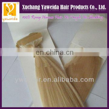 2014 hot selling top quality weft pu glue virgin tape hair extensions