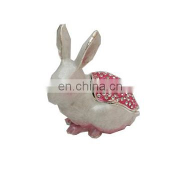 can open and close white rabbit with pink rhinestone enamel pewter jewelry box metal