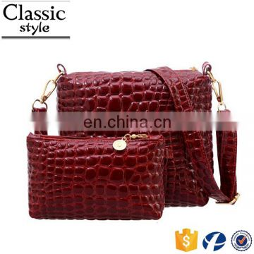 CR Over 11 years experience latest products in market crocodile pattern bag set with purse long strap satchel custom tote bag