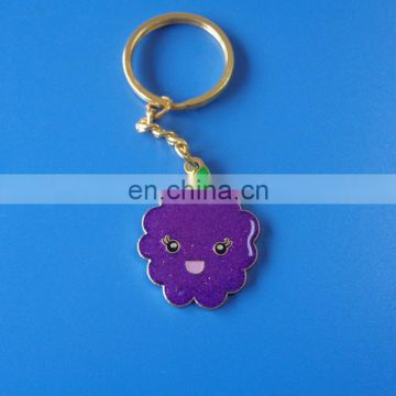fruits character lovely grape design shinny soft enamel with shimmering powder customized souvenir metal keychain
