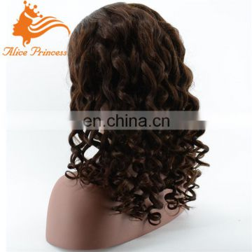 Wavy full silk top cap lace wig 3# chocolate brown color silk base lace wig for black woman
