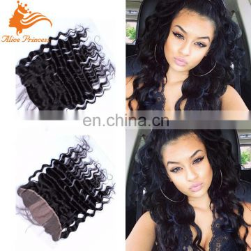 8-24 Inch 100 Percent Human Hair Piece Top Quality Deep Wave Lace Frontal Closure