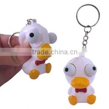 Squeeze pop eyes Duck key chain