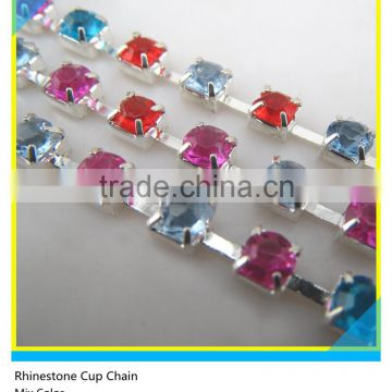 Wholesale Rhinestone Claw Chain Trimming Green Rhinestone Cup Chain for Garment Decoration