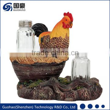 Resin Souvenir With Hens and Roosters