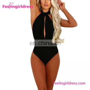 Attractive Fashion Black Sexy High Cut One Piece Swimsuit