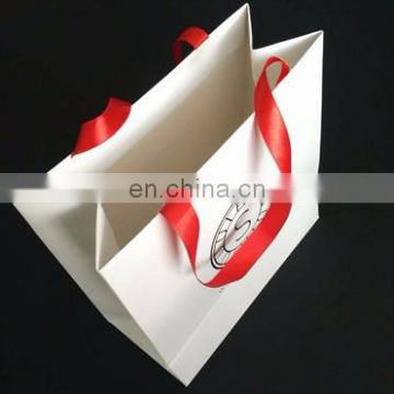 Wholesale White paper Jewelry Bag With Foil Gold Logo