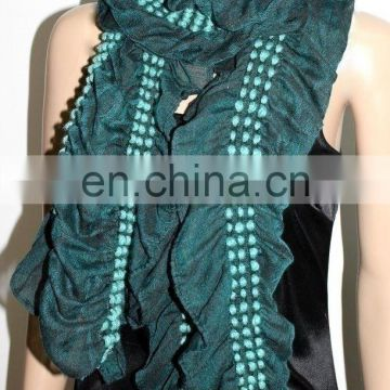 scarf shawl with with soft ball pattern crinkled