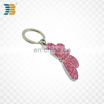3D butterfly shape custom painted metal keychain with keyring