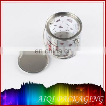 Customized round clear paint can with tin lid