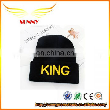 Custom cheap winter knitted wool beanie hat with logo