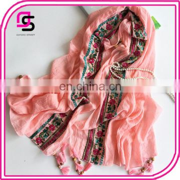 New Autumn Section of High-grade Viscose Elegant Breathable Thin Retro Embroidery Shawl Female Scarf