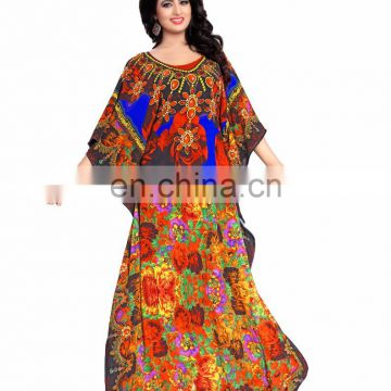 Designer Clothing Manufacturers 3D Digital Printed Kaftan Dress for Woman(kaftans 2017)