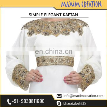 Simple Elegant Dubai Party Wear Caftan Dress For Ladies