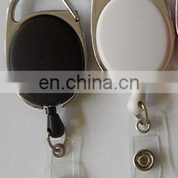 Hot Sale Retractable Round Plastic Badge Pull Reels With Metal Belt Clip