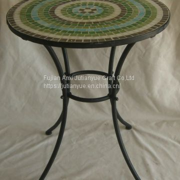 outdoor mosaic with metal table