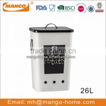 9.5L Ivory Metal Potato storage containers
