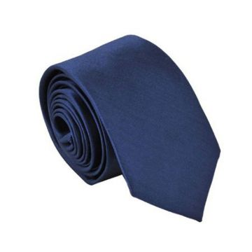 Double-brushed Blue Polyester Woven Necktie Stwill Knit
