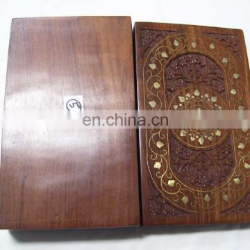 "CARVING WOODEN BOX BRASS DESIGNER INLAY (10""X 6""X 2.5"" )"