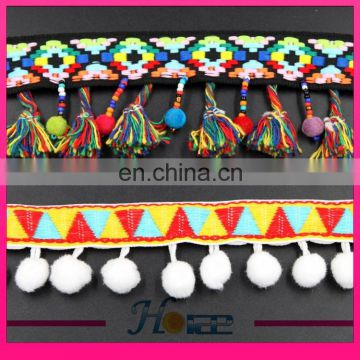 New style fringe tassel lace trim indian colorful pom-pom trims for clothing