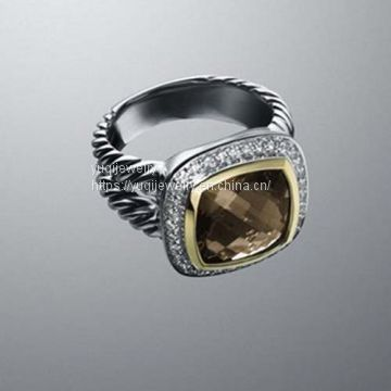 Sterling Silver Jewelry 11mm Smoky Quartz Albion Ring(R-069)