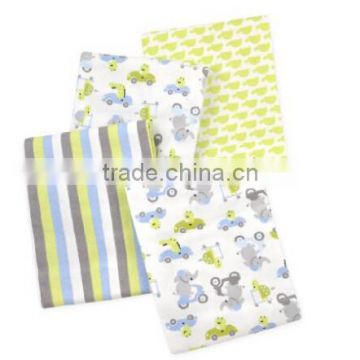 4 Piece 100% Cotton Flannel Receiving Baby Blankets--Turtle/Elephant/Green/Blue/Grey/White