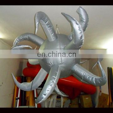 silver round inflatable star inflatable hanging star for ceiling decoration
