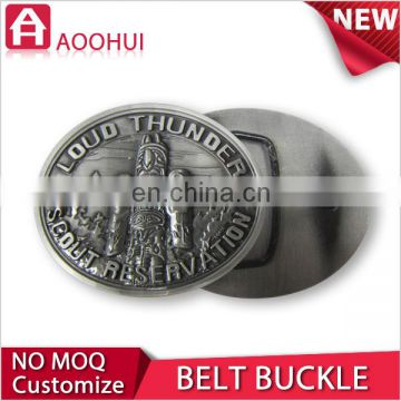 High-end die casting souvenir leather covered belt buckle