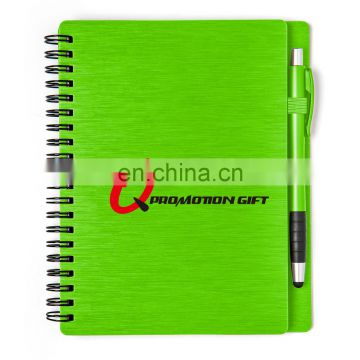 mercury spiral round 70sheets lined notebook set with stylus ball pen and solid metallic textured cover