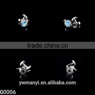Fashion jewelry custom latest shirt designs blue rhinestone cufflink for men G0006                                                                         Quality Choice