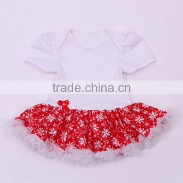 Factory Supply Christmas Baby Snowflake Print Dress Red Tutu Bodysuit
