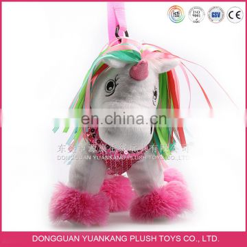 Colorful unicorn plush toy bag for 5 years old kids