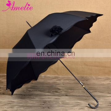 Black and White Color Wedding Sun Umbrella with Flower for Bride