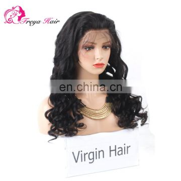 Hot Selling Factory Price Undetectable Natural Hairline llose wave full lace human hair wig