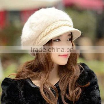 4 Colors Available Warm Knit Winter Wool Rabbit Fur Women Hat Beret Stock