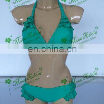 Missadola summer swimwear sexy green latest Ladies Bikini ruffled swimming suit