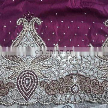 African frenchStone beaded george lace fabric for Wedding Wear and Party Wear
