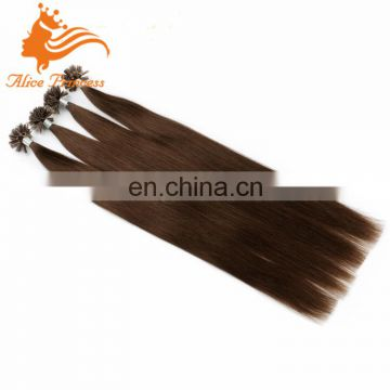 u tip indian Hair Extensio #6 0.5g/s Brown Keratin Nail U-tip Remy fusion human Hair extension hair dye set for nail extensions