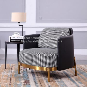 luxury fabric wood frame golden stainless steel base lounge sofa chair