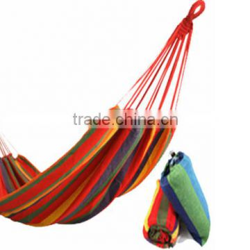 280*80cm Bearing 150kg Outdoor Multicolor canvas fabric hammock Cotton Rope Swing Fabric Stripes Single Leisure Folding Hammock