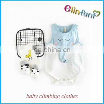 Elinfant wholesale cartoon elephant climbing clothes baby plain sleevess romper