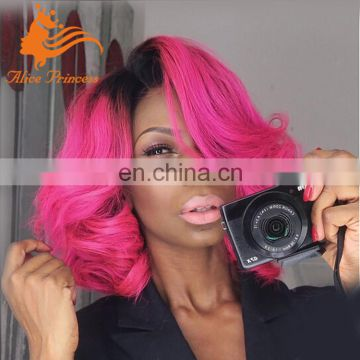Ombre Light Color Short Bob Style Beauty Wave Lace Front Wig 1BTPink Color Virgin Human Wig For Women