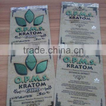 Gold OPMS Kratom powder packaging bag with zipper , Quality Choice