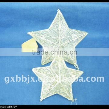 White metal wire star shape christmas decoration sets