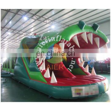 Newly Popular Green Color Inflatable Crocodile Obstacle Course for kids outdoor playground