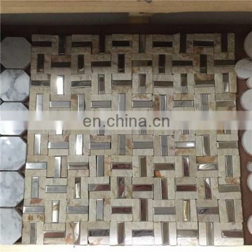 Stone and stainless steel mix mosaic