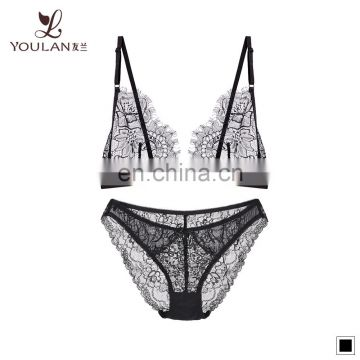 ladies sexy open lace bra set with net underwear photos set women