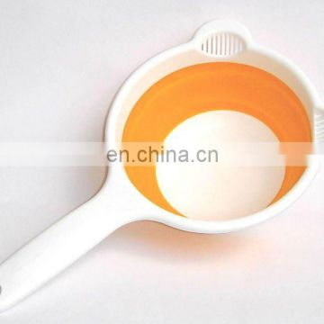 Cute folding strainer,folding colander,plastic folding strainer with two ears