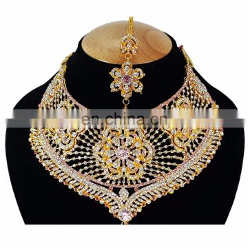 Bolllywood Designer Gold Plated Bollywood Party wear Jewelry Necklace Set Baby Pink Color